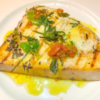 Grilled Swordfish With Lemon, Oil, Tomato and Herbs